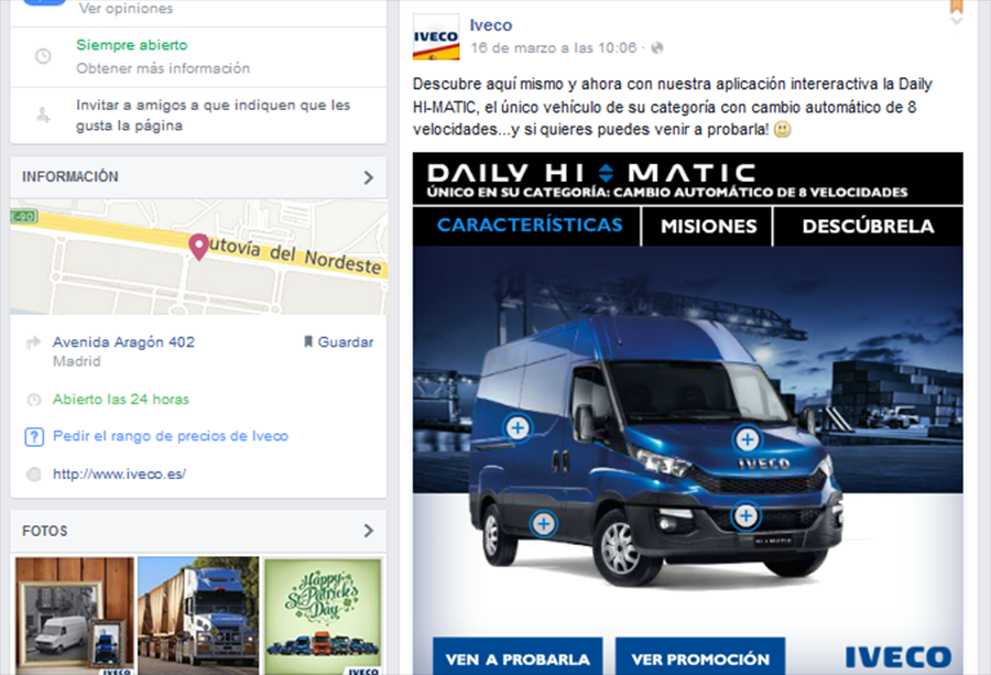 Post interactivo de IVECO para presentar Daily Hi-Matic